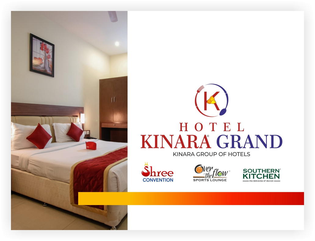 Kinara Group is one of the largest Hotels & Restaurant Chains in Hyderabad. The Group also runs other entities like Southern Kitchen (Restaurant), Over the flow (Sports Bar), Hotel Kinara.